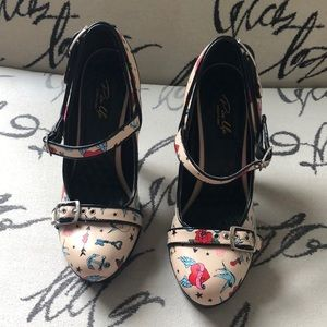 Pinup Couture tattoo heels Size 7